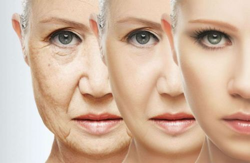 Face showing 3 stages of Ageing